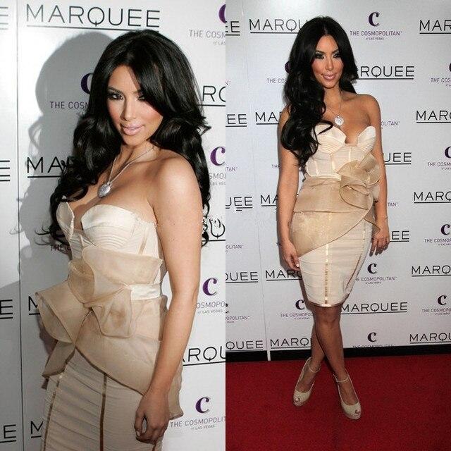 SML Sexy Kim Kardashian Kleid 2016 Champagne Kurze Meerjungfrau ...