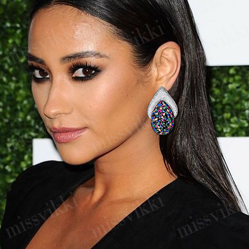 Boucles d'oreilles en argent de luxe missvikki pavé de cristal complet attrayant 925 boucle d'oreille femme originale 2019 bijoux tendance