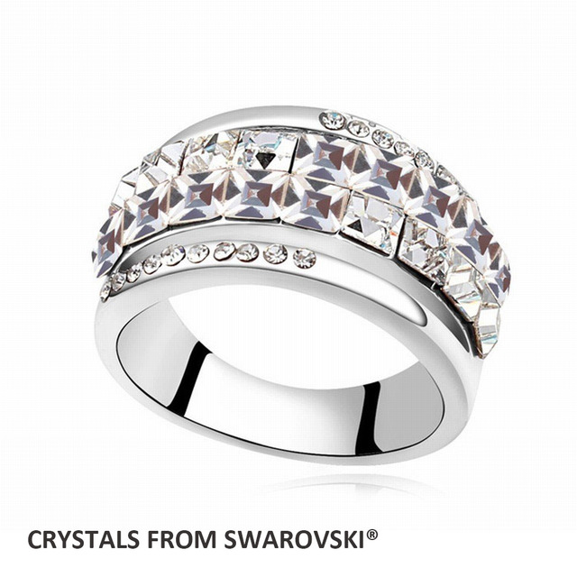 Super Sale Double Line 5 Colors Round Crystal Wedding Bands Finger Ring With Crystals From SWAROVSKI