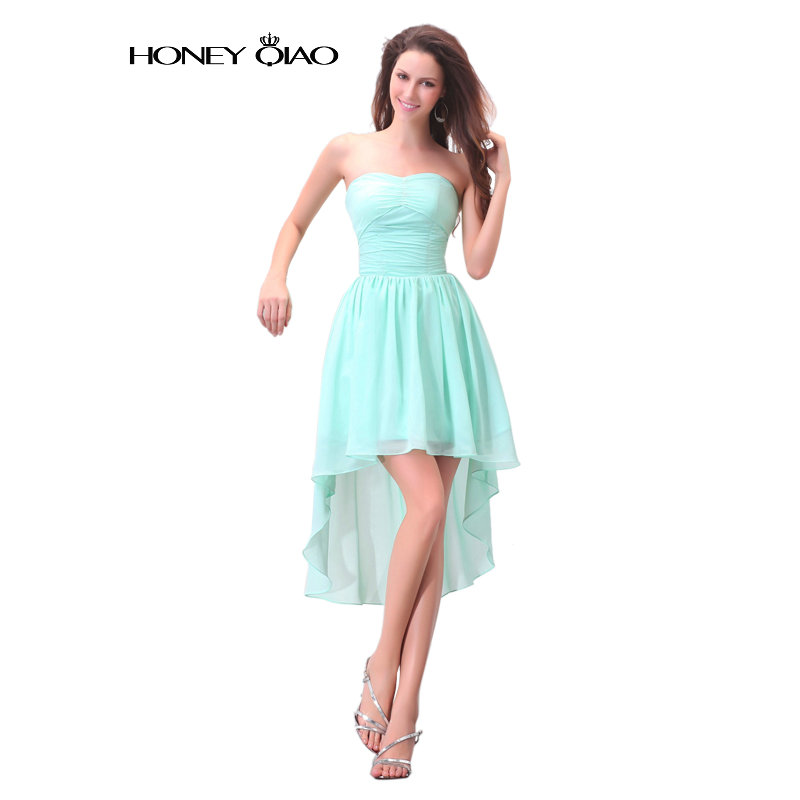 Honey Qiao Strapless High low Chiffon Short Prom Dresses ...