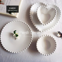 Hot sale simple style white color pearl shape plate bowl heart shape dessert plate soup bowls tableware 1pc/lot