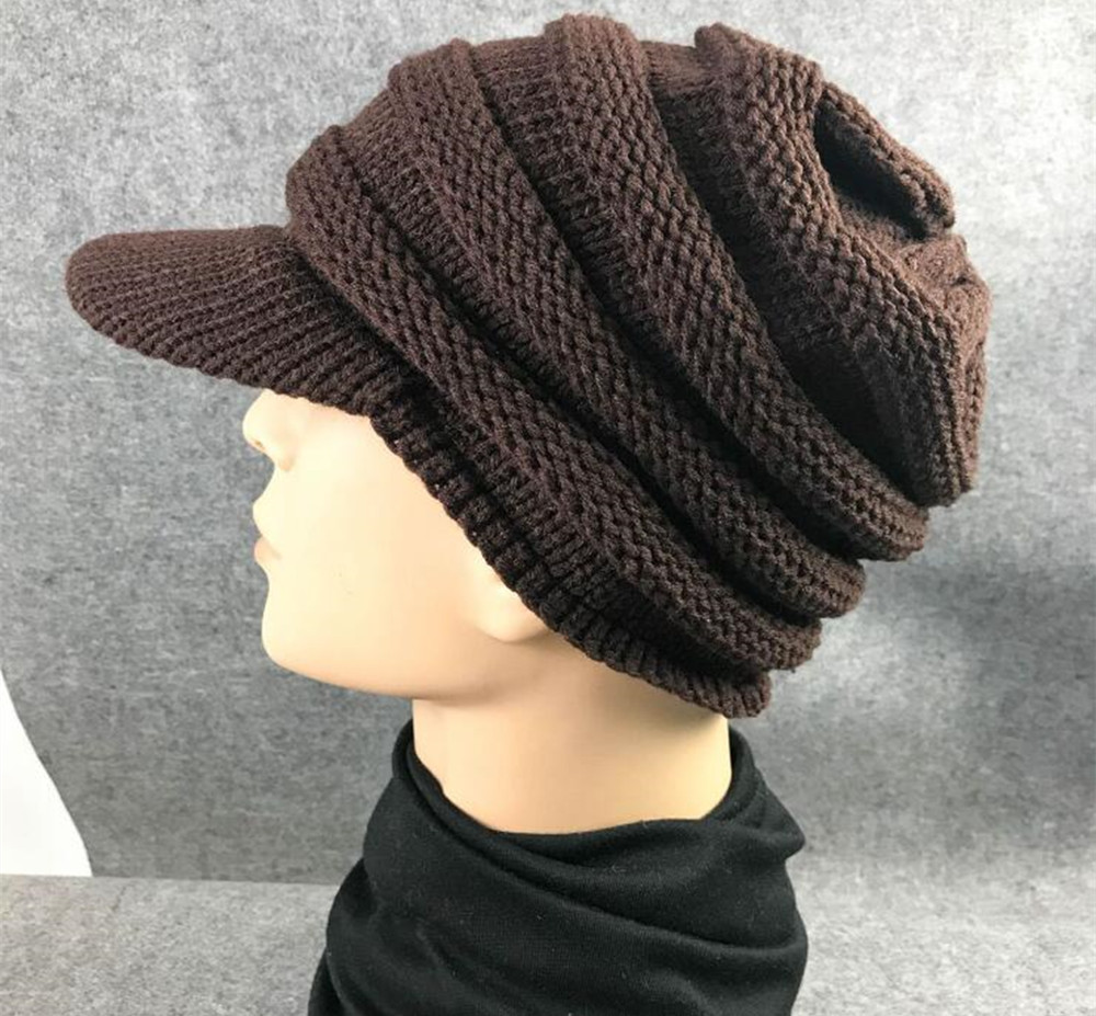 294e65d09e6 Yyun Fashion Solid Color Thick Warm Eaves Cable Knitted Beanie Hat Men and Women  Winter Visor Skullies-in Skullies   Beanies from Apparel Accessories on ...