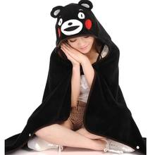 1pcs Cute Anime Kumamon Bear Plush Cloak Super Soft Coral Fleece Cosplay Adult Hooded Shawl Cape Wrap Blanket Kids Toys Gift(China)