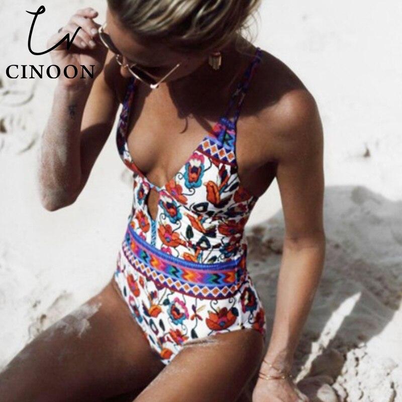 CINOON impresa Floral caliente de las mujeres 2018 de una sola pieza Bikinis Set traje de baño Beachwear Bikini