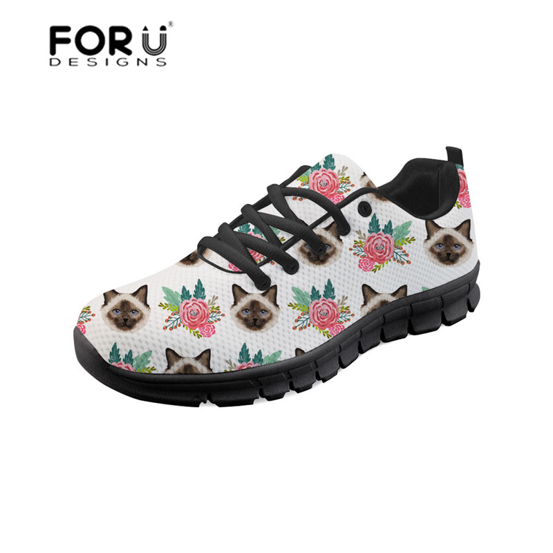 купить FORUDESIGNS Flat Ladies Shoes Birman Cat Design Cute Comfortable Female Platform Sneakers Mesh Women Femininos Sapatilha Mujer по цене 1879.82 рублей