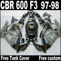 Motorcycle parts for HONDA CBR 600 F3 fairings 1997 1998 CBR600 F3 97 98 black silver fairing kit + Tank cover S8