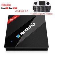 H96 Max Android ТВ коробка 4 г 32 г Встроенная память ОС Android 7,1 RK3399 Mali T860 GPU 4 К Box XBMC wi Fi Bluetooth HD Декодер каналов кабельного телевидения с i8 Клавиатура