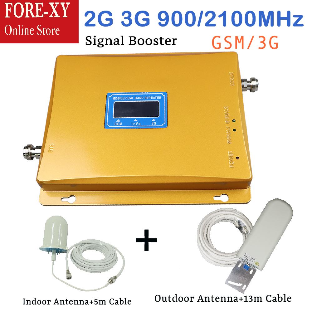 GSM Repeater Dual Band 65dBi 900 / 2100MHz 2g 3g mobile signal booster GSM repeater with outdoor antenna and ceiling antenna setGSM Repeater Dual Band 65dBi 900 / 2100MHz 2g 3g mobile signal booster GSM repeater with outdoor antenna and ceiling antenna set