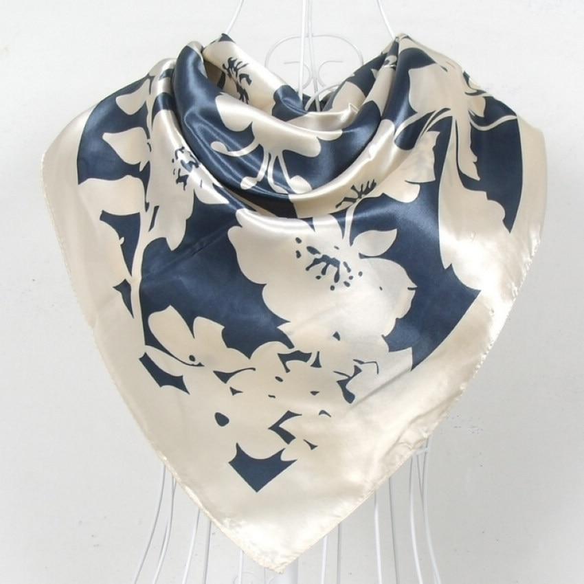 2015 Fashion Brand Women Beige Polyester Silk   Scarf   Shawl New Style Big Square Ladies Satin   Scarf   Printed Silk   Wraps   90*90cm