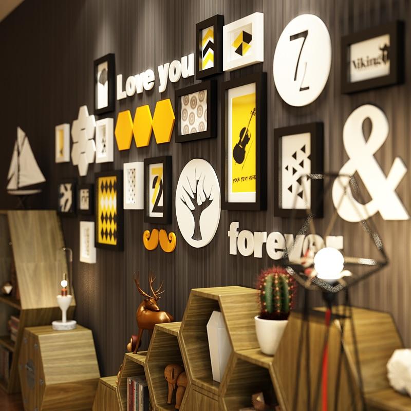 17 pcs Massief Hout Grote Fotolijsten Moderne Woonkamer/Winkel Fotolijst Set Big Size Houten Brief Thuis wanddecoratie DIY - 6