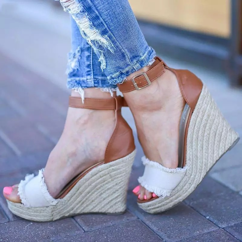 Wedge Platform Sandals Rope Flats Women Shoes Gladiator Hemp with Light-Bottom Rome-Style