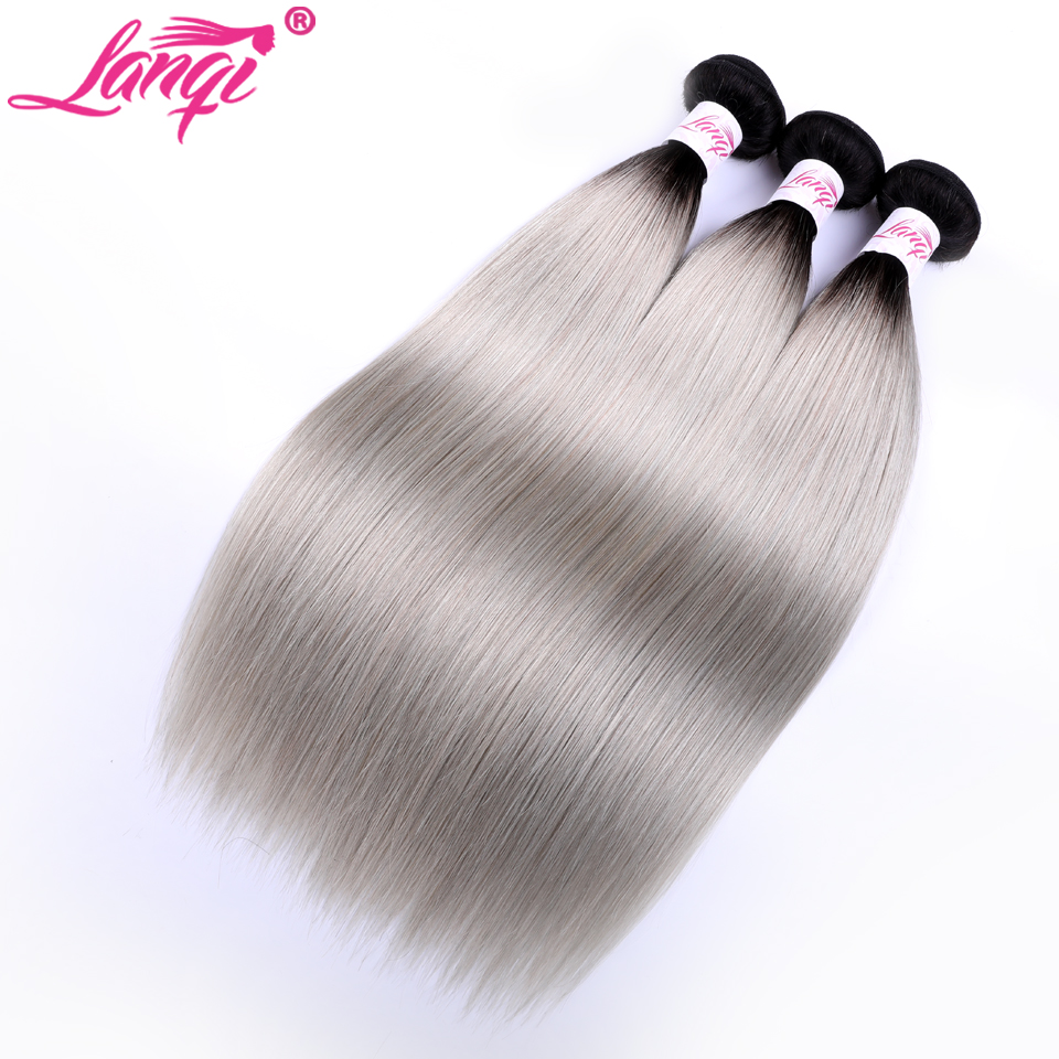 T1B/Grey Peruvian Straight Hair 3 Bundle Deals Lanqi Human Hair Weave Gray Non Remy Peruvian Ombre Hair Bundles