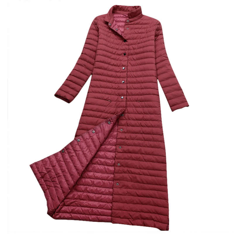 Осень И Зима Теплая Утка Вниз Тонкий Длинное Пальто Женщины Вниз куртка 5 Цвета Европейский Стиль Пальто Зимняя Куртка Женщин Плюс Размер