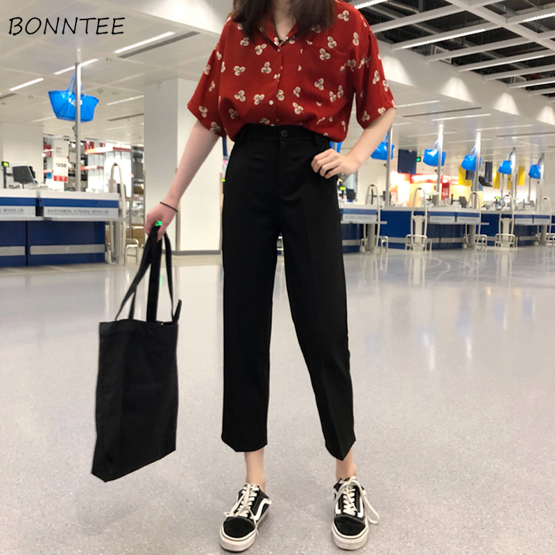 Pants Women Spring Summer Trendy Korean Style Solid Harajuku Ulzzang Streetwear Elegant All-match Casual Womens Trousers Chic