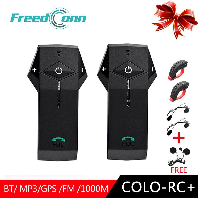 2 PC FreedConn Interphone Moto Casque COLO-RC + L3 casque bluetooth avec interphone 1000 m Avec télécommande NFC FM Moto Écouteurs
