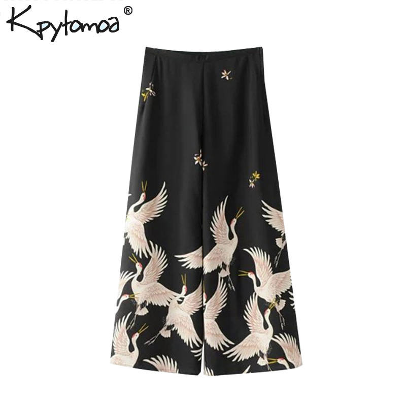 Vintage Cranes Print Black   Wide     Leg     Pants   Women 2018 Fashion Elegant High Waist Ankle Length Trousers Femme Casual Loose   Pants