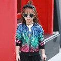 2017 Nova Primavera/Outono de Alta Qualidade Do Bebê Meninas Outwear Casaco Jaqueta Outwear Jaqueta Corta-vento Blusão Crianças com Lantejoulas