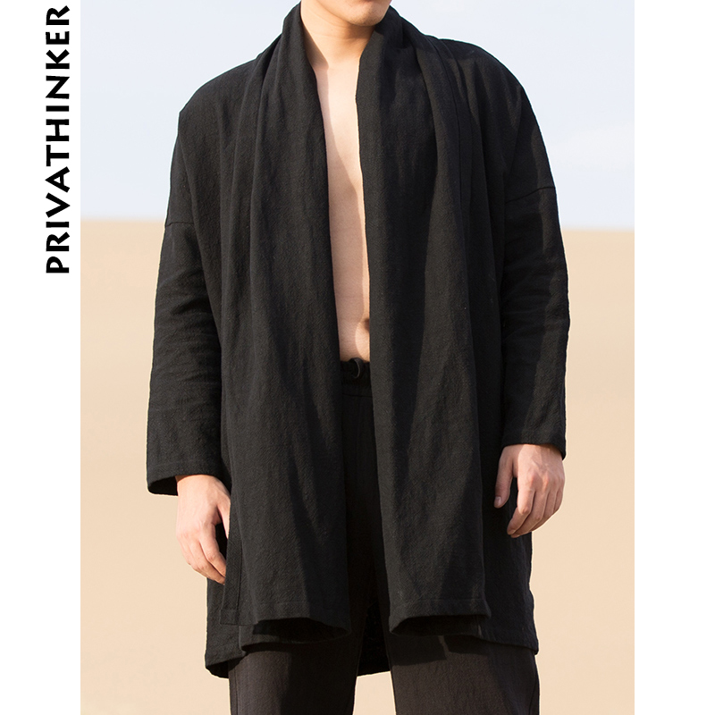 Jacket Men Cardigan Kimono Trench-Coat Harjuku Black Autumn Plus-Size Male Solid Sinicism-Store