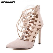 TINGHON  NEW Fashion Women Flock Pumps Elegant Bandage Cross Tied 11.5 CM High Heels Wedding Lady Shoes Zipper Party
