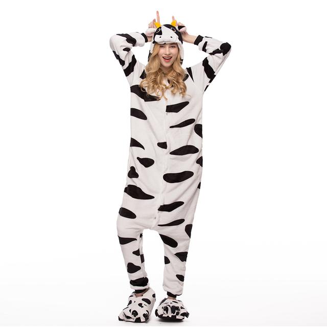 2018 Winter blue unicorn Pajama Sets Cartoon Sleepwear Women Pajama Flannel Animal zebra Stitch Unicorn giraffe Pajama kigurumi