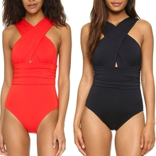 цены 1 Pc Women Cross Bandage Backless Solid Triangle One-piece Swimsuit Bathing Suit Hot