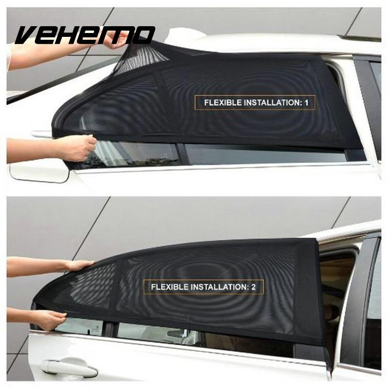 2 pièces couverture de fenêtre de voiture parasol pare-soleil rideau Protection UV bouclier paire visière maille solaire moustique poussière Protection bâches de voiture