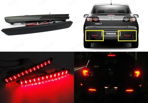 Fit for Mazda3 Axela 2004-2009 Black Smoked Lens Bumper Reflector LED Tail Brake Stop Light