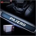 Автомобильный Стайлинг для Mitsubishi PAJERO из углеродного волокна виниловая наклейка на порог автомобиля защитная Накладка на порог аксессуары ...