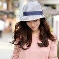 Con estilo 2015 del verano Floppy Anti ultravioleta del sombrero del sol Hawaii turismo sombrero de paja sombrero de la raya del Bowknot sombrero de sol plegable Beach Headwear señora tapas