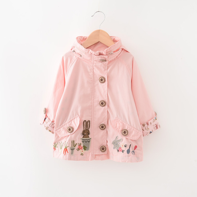 New 2016 Girls baby Hooded coat rabbit embroidery trench coat wholesale