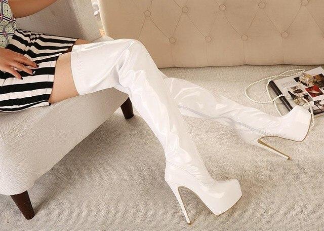Große Größe 35 44 Frauen Lackleder Über Kniehohe Stiefel Frauen 44 High Heels ... b5e349