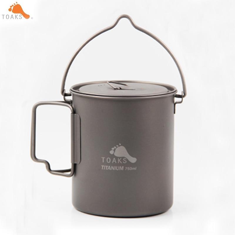 лучшая цена TOAKS Titanium 750ml Outdoor Camping Pot Cooking Pots Picnic Hang Pot Ultralight 113g Titanium Cup POT-750-BH Drop shipping