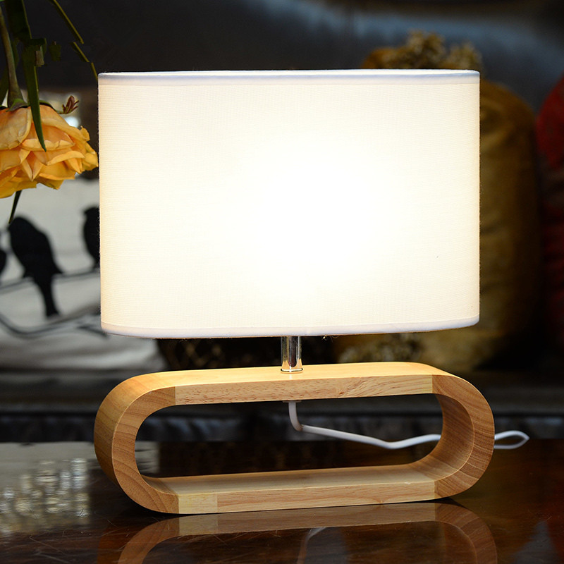 Simple White/brown fabric shade table lamps hotel room project bedroom E27 led original wood red wood w fabric shade desk lamp bedroom table lamp modern simple wood stand table lamp with fabric lamp shade desk lamp study lamparas kumastb
