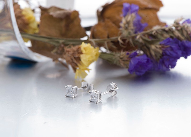 925 sterling silver stud earrings square NE02300B (10)