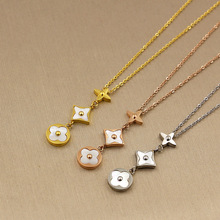 Hot Sale White Shell Three Flower Pendant Gold Color / Silver Color / Rose Gold Color Titanium Steel Necklace