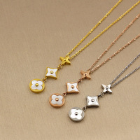 Hot Sale White Shell Three Flower Pendant Gold Color Silver Color Rose Gold Color Titanium Steel