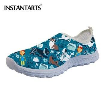 INSTANTARTS-Zapatos planos con estampado de veterinario para Mujer, calzado de malla con...