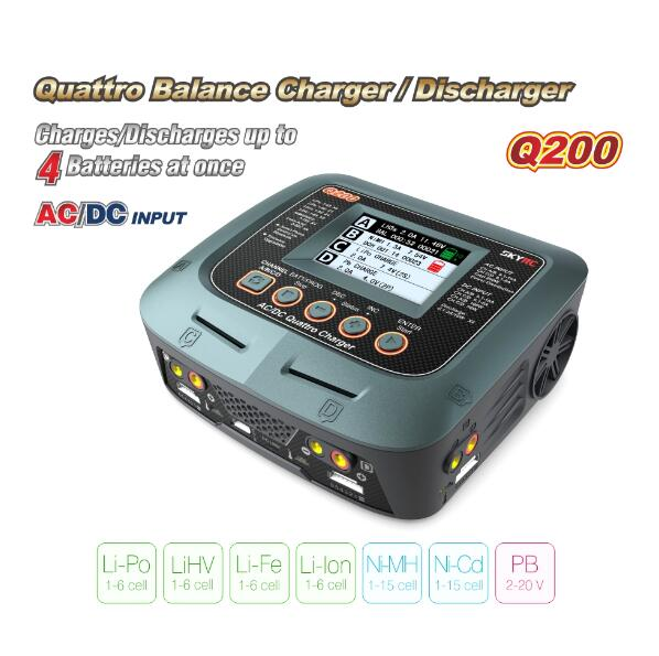 SKYRC Q200 1 to 4 intelligent charger/Discharger AC/DC for Lipo/LiHV/Lithium-iron/Lithium Ion/<font><b>NiMH</b></font>/NiCD/Lead-acid <font><b>battery</b></font>