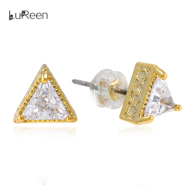 LuReen Gold Triangle Cut CZ Zirconia Stud Earring For Women