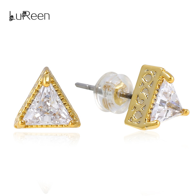 LuReen Gold Triangle Cut CZ Zirconia Stud Earring For Women Geometric Bling Stone Screwback Earrings Mens Jewelry Gift LE0248