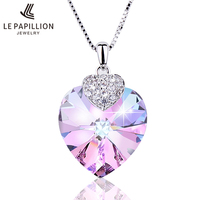 LE PAPILLION Fine Jewelry Women Necklace Made With Swarovski Crystal Heart Shape Amethyst Crystal Pendant Necklace