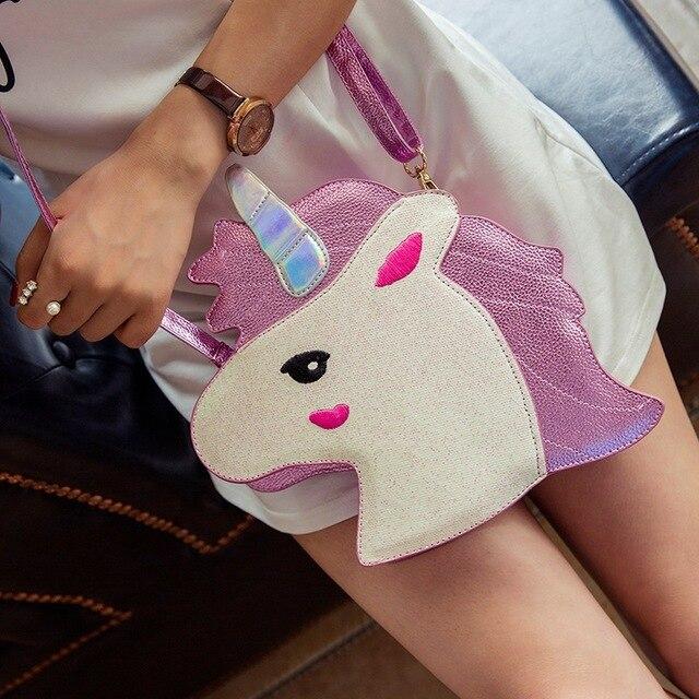 2017 Новый личность creative мультфильм белый конь женщина сумки на ремне, мода блестящий симпатичные девушки дети хит цвет сумки посыльного