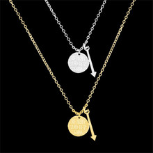 GORGEOUS TALE 2017 10Pcs/lot Gold Personalised Arrow Pendant Be Brave And Keep Going Lettering Pendant Necklaces Charm Jewelry