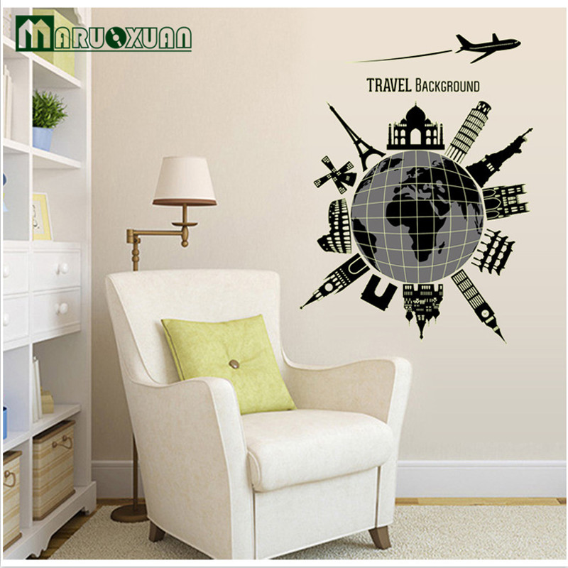 Fluorescent Luminous Paste Stickers Affixed Creative Fashion Office Bedroom Wall Decoration World Travel In From Home Garden On