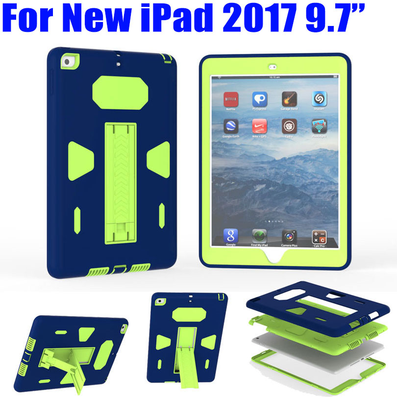 Case For iPad 2017 9.7 inch Heavy Duty Silicone TPU + PC Hard Flexible Stand Armor Drop Shock Proof + Screen Protector ID702