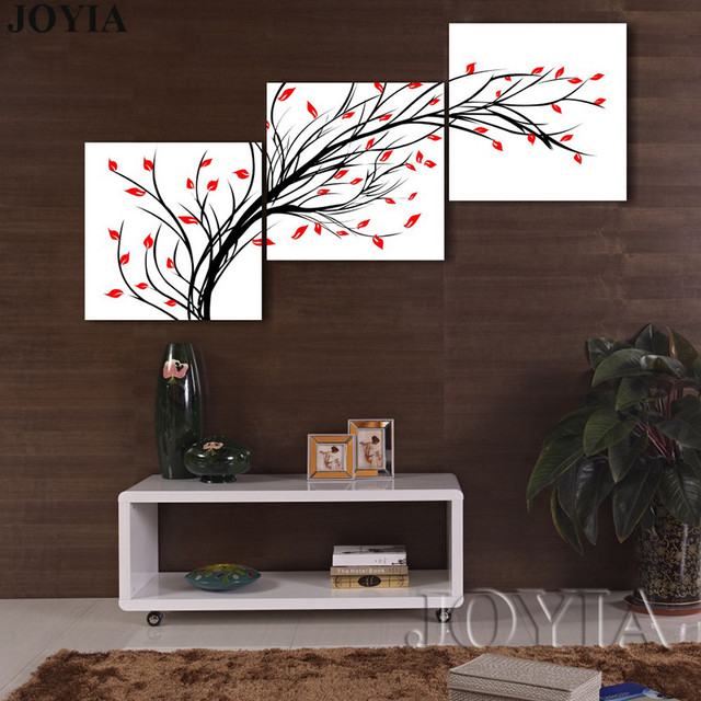 3 Piece Red Black And White Wall Art Pachira Tree Canvas Painting ...