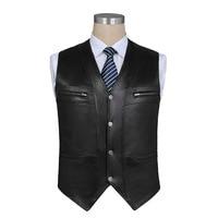 2019 male sheep skin leather vest fashion waistcoat