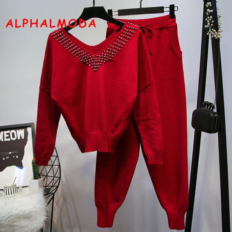ALPHALMODA 2018 Autumn Winter Women s V collar Beaded Fashion Knit Tracksuit Pocket Pants Stylish Studded
