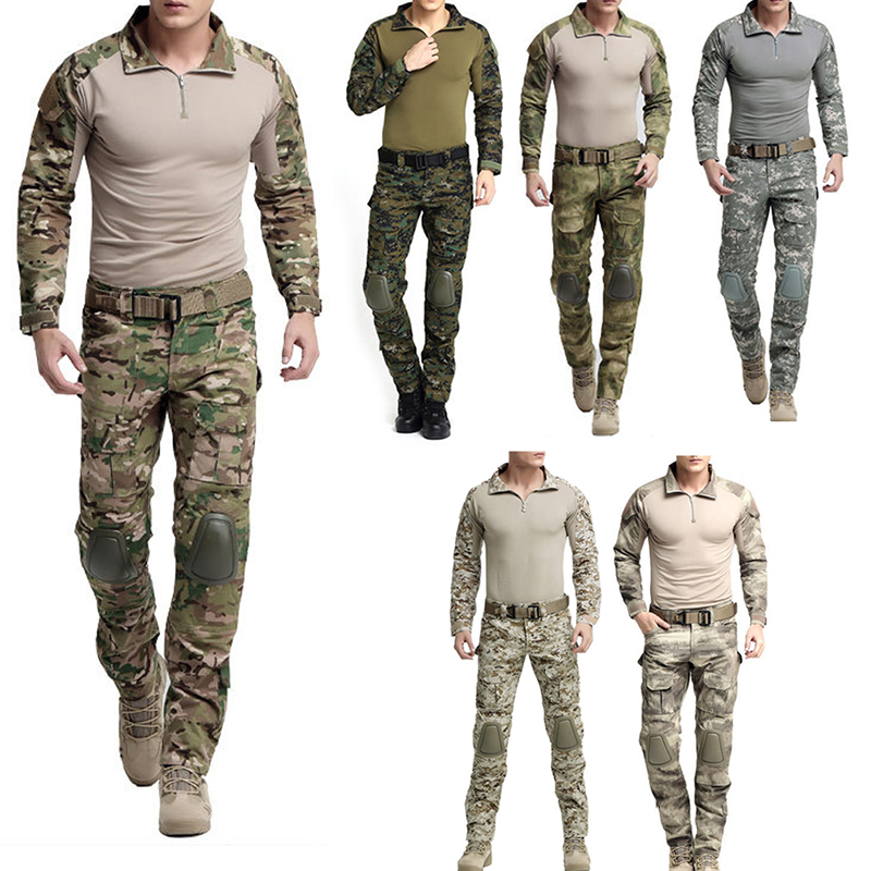Outdoor Tactical Camouflage Military Uniform Men Hunting Suit Hunting Army Clothes Outfit Military Combat Shirt Tactical
