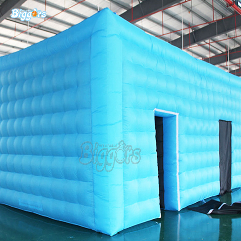 Blue color customized color Air inflated structure inflatable tent with 2 doors inflatable white tent camping tent cubic inflatable tent air inflated structure with blowers